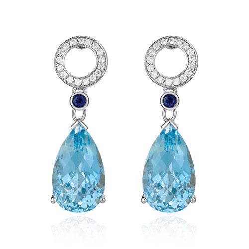 Diamond and Blue Topaz Earrings