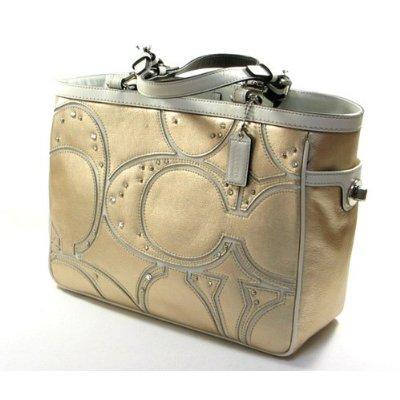 Coach Gold Signature Gallery Pieced C Tote Handbag F 13121