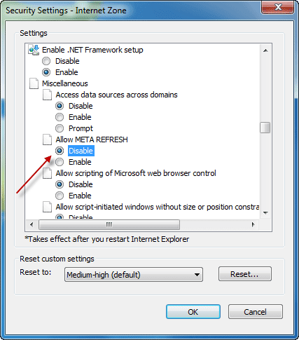 Disable automatic Meta refresh/redirect of websites in