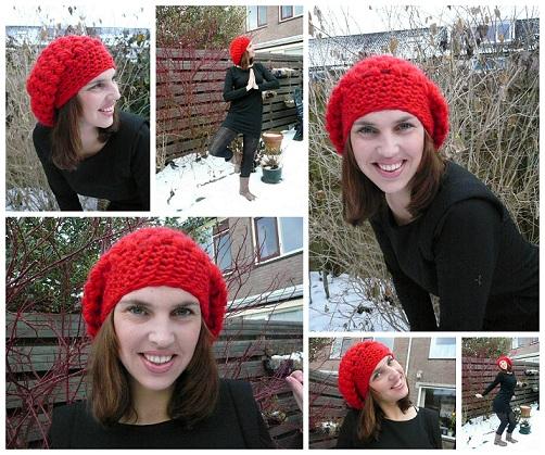 Lindevrouwsweb Rode Muts Red Puff Stitch Hat
