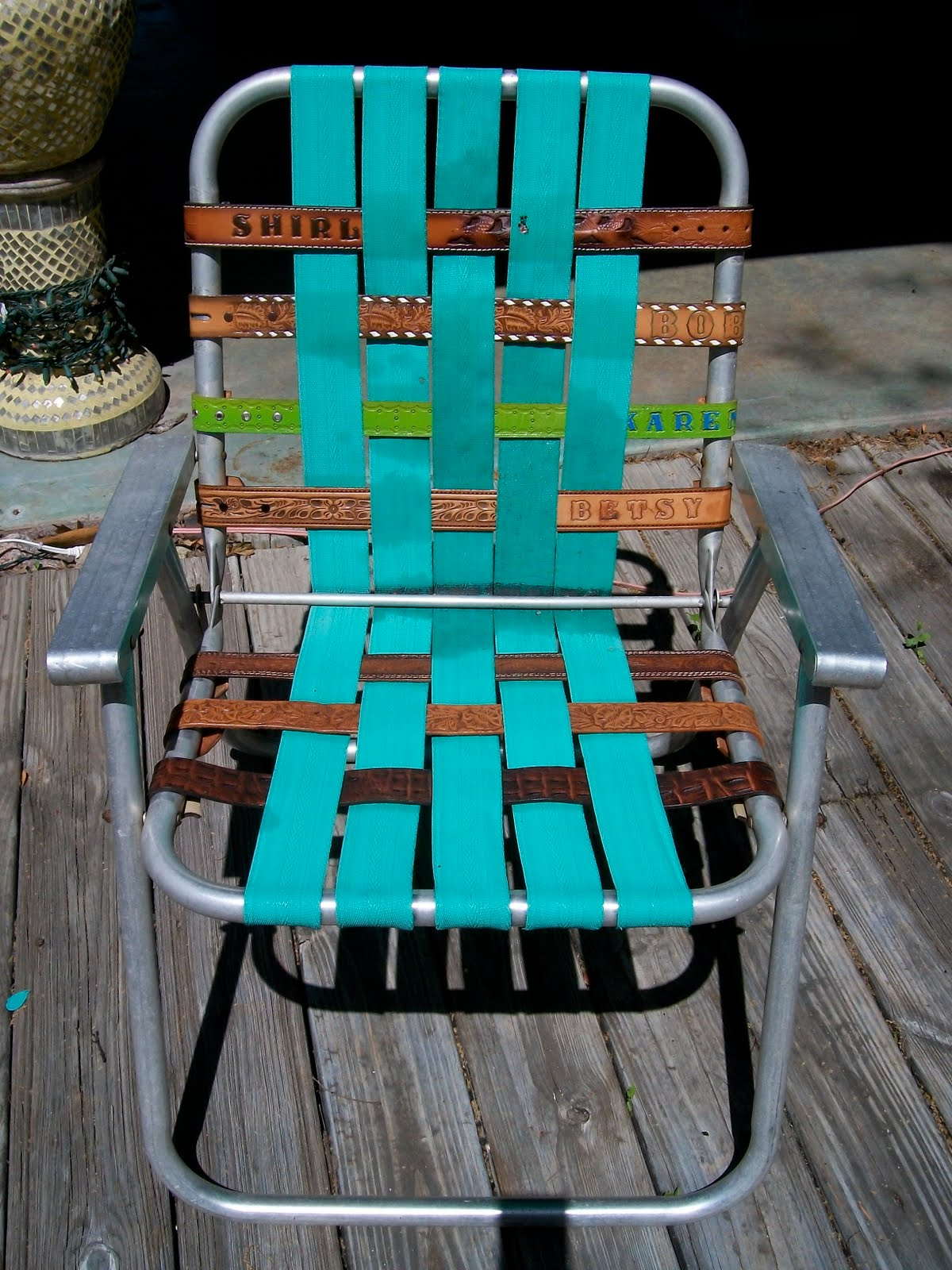repair chair seat webbing real comfort adirondack chairs kikithespunkymunky recycled vintage folding lawn