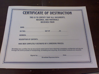 More adventurous certificate of destruction for Certificate of disposal template