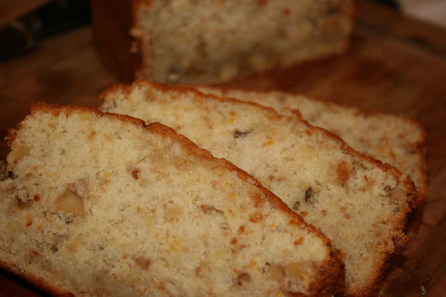 Yummy banana nut bread recipe that has just a touch of citrus from lemon juice and orange zest. Makes 2 loaves.