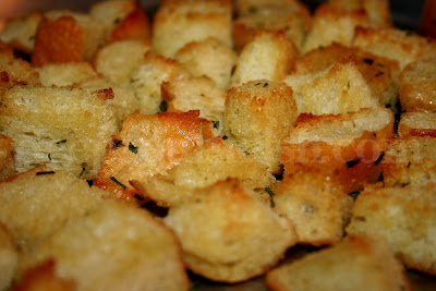 Garlic infused olive oil is the key to these beautifully crispy and golden brown croutons.