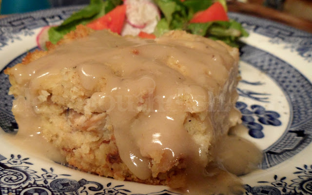 Chicken and cornbread dressing in a casserole form and served with homemade gravy is pure comfort food anytime of the year. It's a perfect dish to carry to a potluck or church social too!