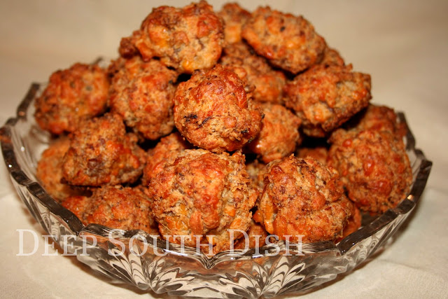 Classic old fashioned sausage cheese balls made with baking mix, breakfast sausage and cheese.