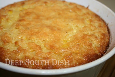 Corn spoon bread goes by a number of names, but it's basically a souffle made of cornmeal, corn, sour cream, milk, eggs and butter. A wonderful side dish for any holiday.