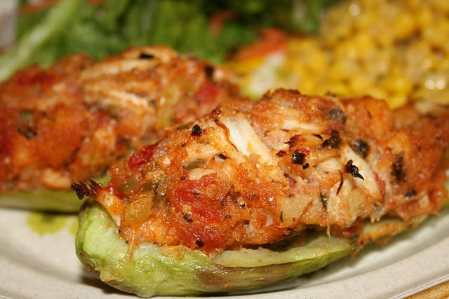 Chayote squash, known in the Deep South as mirliton or vegetable pears, are steamed and then filled with a seafood stuffing.