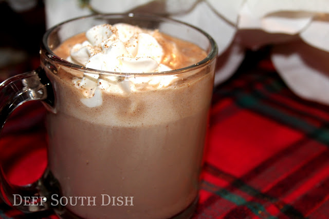 A cup of hot chocolate, spiked with Kahlua if you like, and spiced with cinnamon, nutmeg and cayenne.
