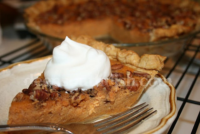 A classic southern pie made with spiced fresh sweet potatoes, topped with toasted pecans and drizzled with syrup.