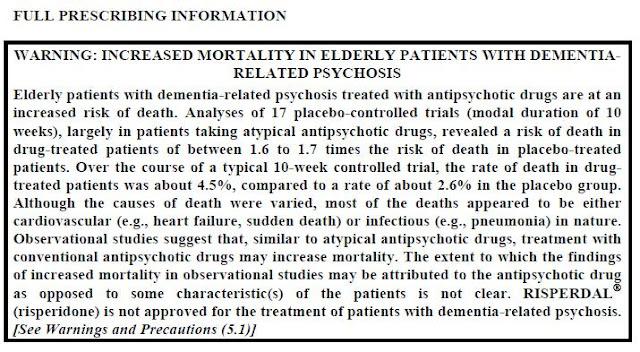 עלון אזהרה של ה- FDA על ריספרדל לחולי דמנטיה