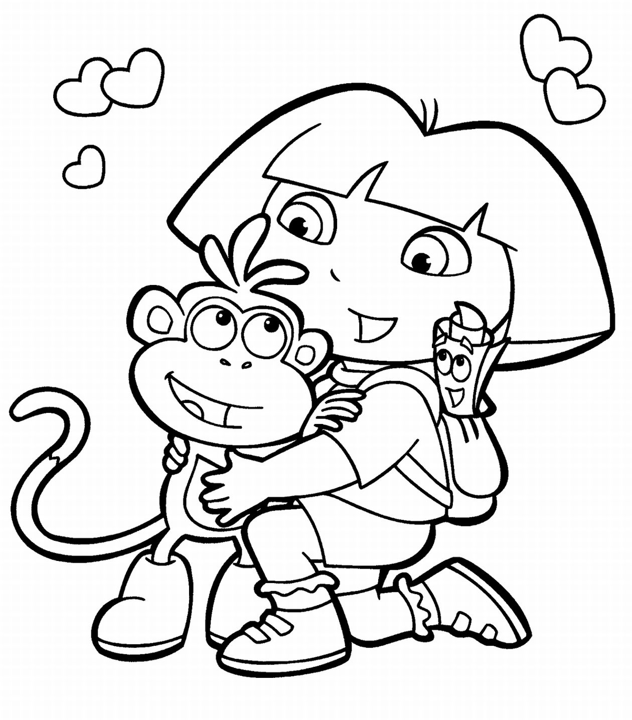 D B B Bdora and boots coloring pages LRG