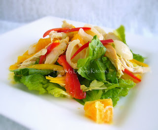 Chicken, Lychee and Orange Salad with Ginger dressings