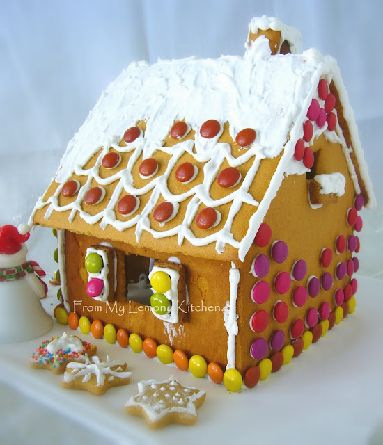 Gingerbread House recipe, comes with ginger bread house template to build one.