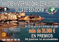 Cartel del XXI Open Internacional de Ajedrez Villa de Benidorm 2008