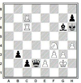 Posición de la partida de ajedrez Zidkov - Vitolins (URSS, 1976)