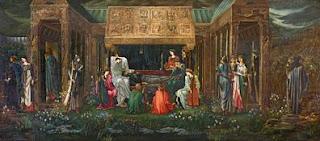 cuadro titulado El sueño del Rey Arturo en Avalón de Edward Coley Burne-Jones, un óleo sobre lienzo de 277,5 x 635 cm
