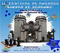 Cartel del II Festival de Ajedrez Ciudad de Badajoz