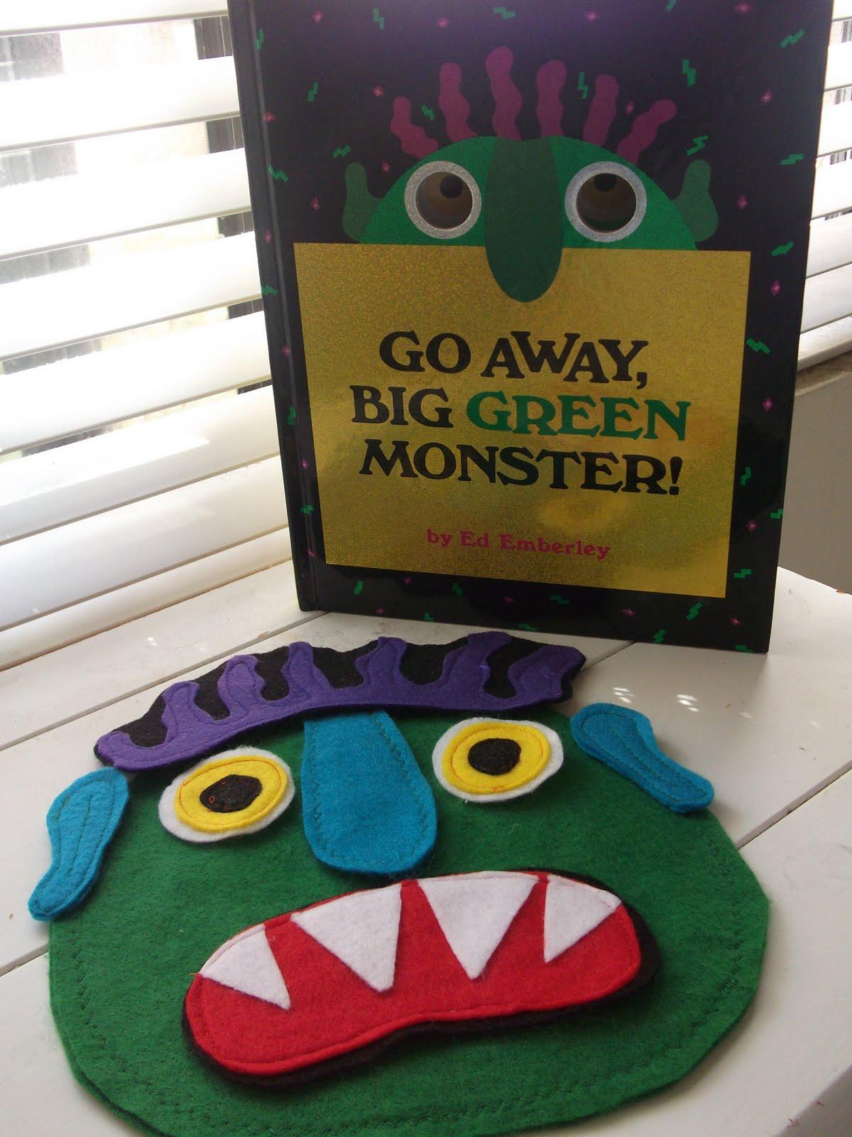 little gene green bean go away big green monster felt story felt story this is one scary monster make your own