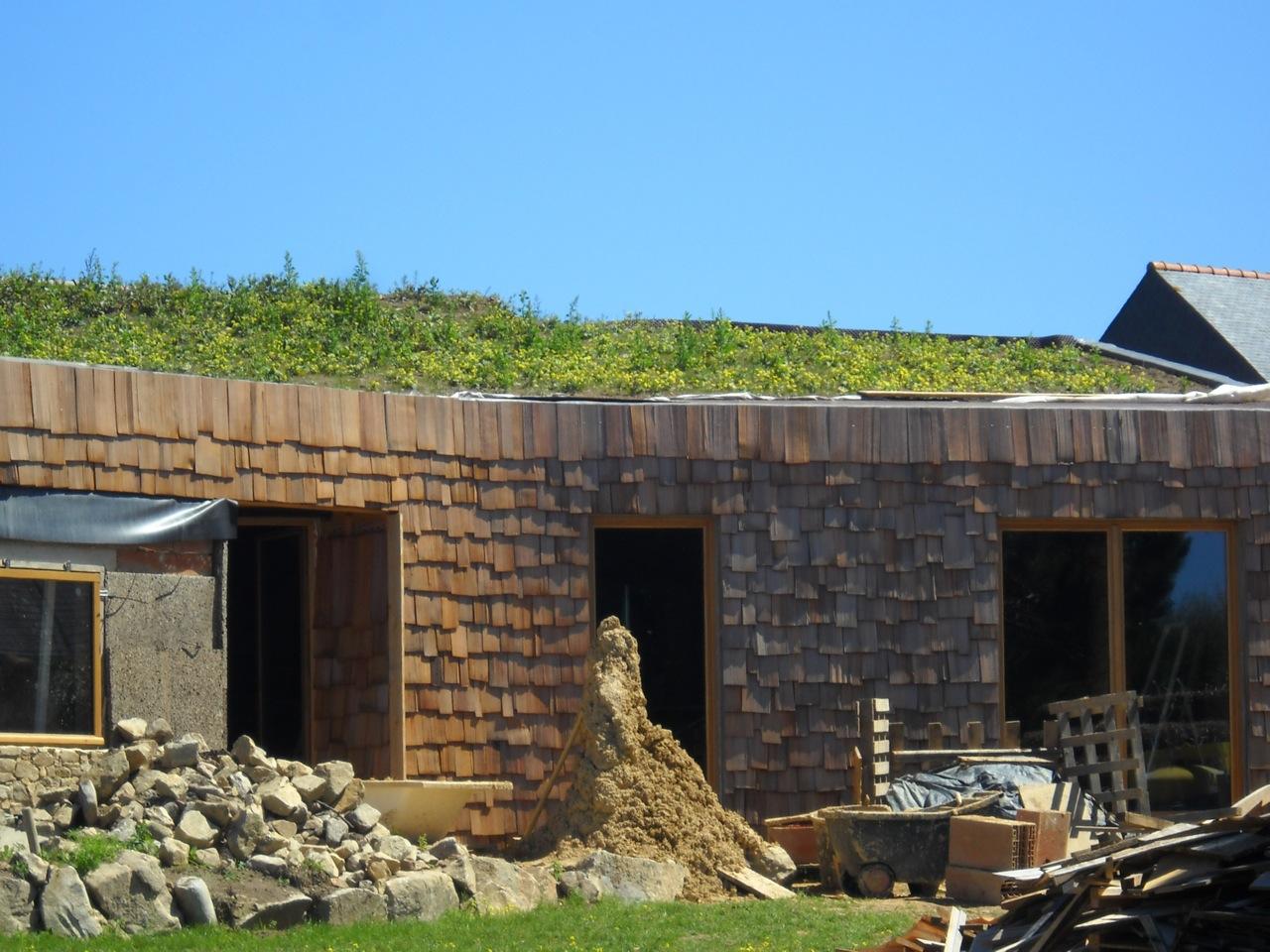 maison paille embruns d 39 herbe l 39 herbe sur le toit. Black Bedroom Furniture Sets. Home Design Ideas