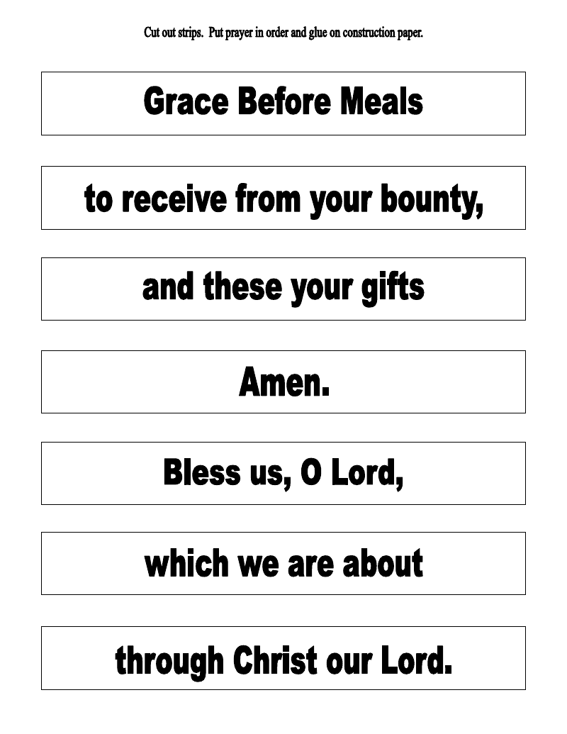 The Catholic Toolbox: Grace Before Meals Prayer Activities [ 1035 x 800 Pixel ]