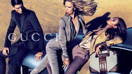 a083c365c0 Ad Campaign: Gucci Season: Pre-Fall Winter 2010. Models: Raquel Zimmermann   DNA,VIVA, Why Not , Joan Smalls  IMG  and Nikola Jovanovic  VIVA