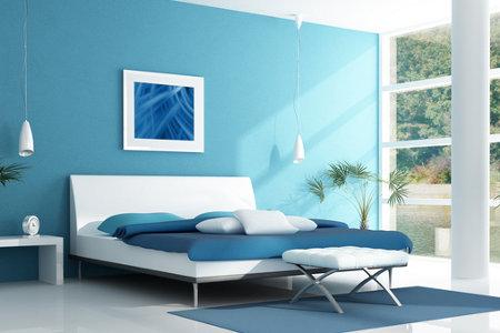 C mo decorar con dos colores - Dormitorio azul y blanco ...