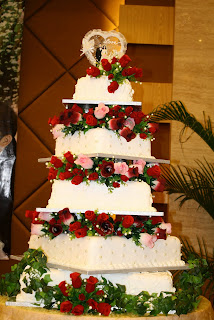 Kay s Hot Oven  5 tier wedding cake My very first huge wedding cake  a 5 tier cake covered in fondant icing and  decorated with velvety roses pearls and sketches of vines and calla lily
