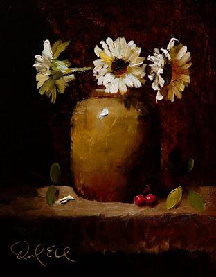 Daniel Edmondson Studio Cream Gerbera Daisies Realistic Alla Prima Impasto Still Life Painting
