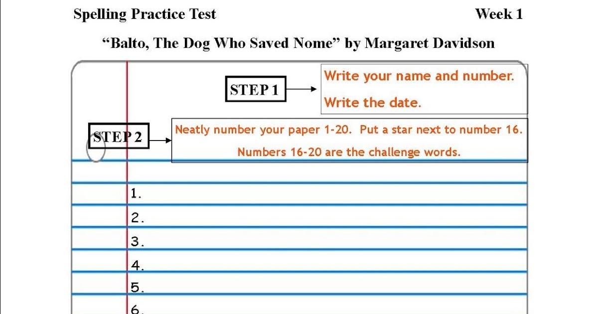 Fantastic Printable Spelling Test Template Ornament - Professional