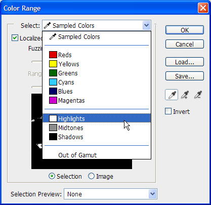 Color Range dialog in Adobe Photoshop