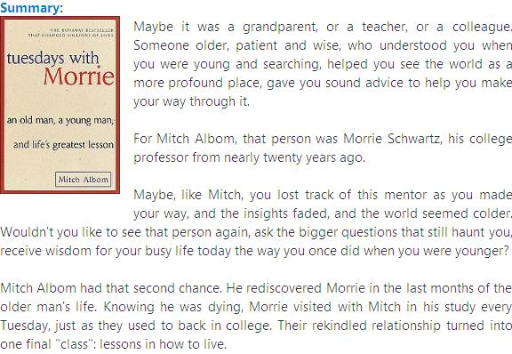 Summary of Tuesdays with Morrie Essay