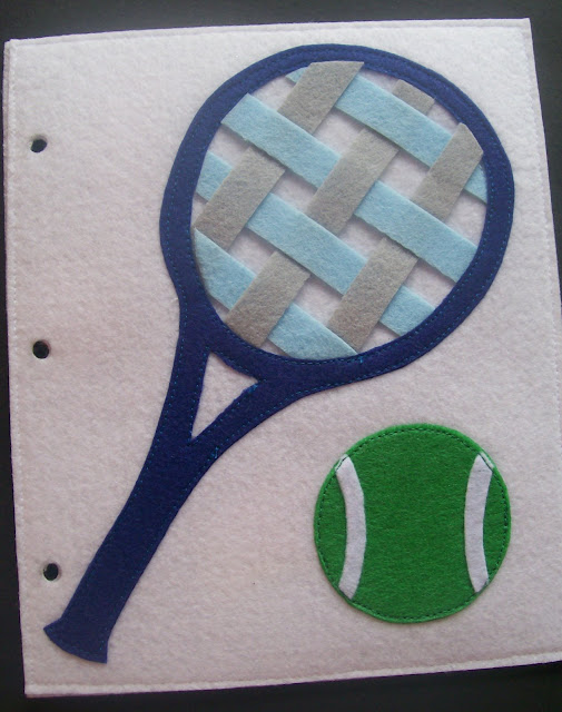 Homemade Quiet Book - Free Templates. Weaving Tennis Rackets
