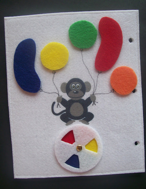Homemade Quiet Book - Free Templates. Monkey/Balloon Page