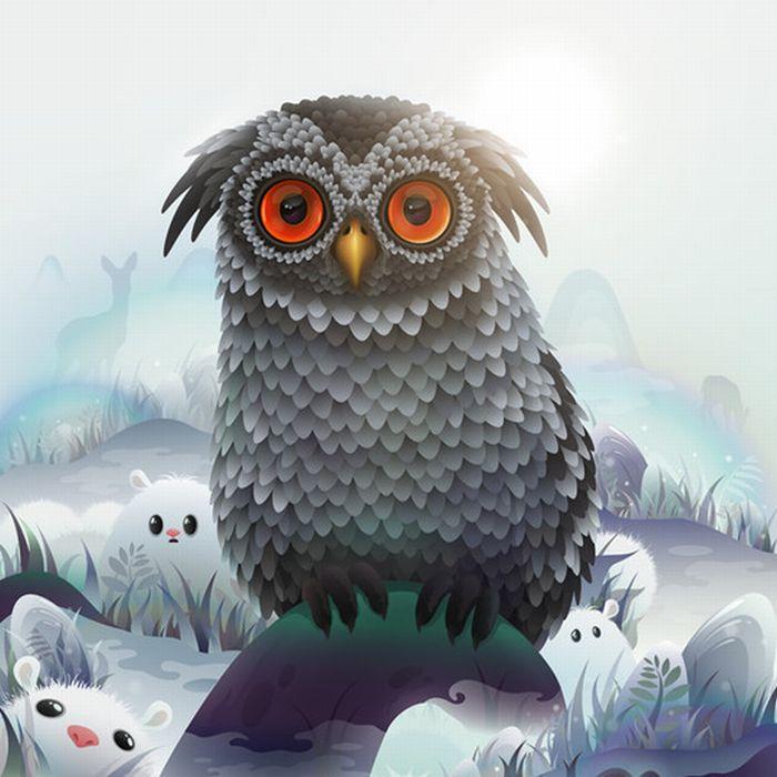 animal cool illustrator artworks weird strange awesome owl adobe cute arts freaky vector fantasy amazing via digital painting tutorials tundra