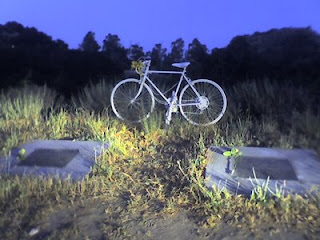 Ghost bike along Stevens Canyon Road, Cupertino, California