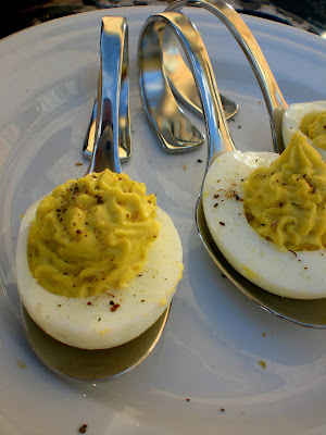 Deviled eggs served in spoon
