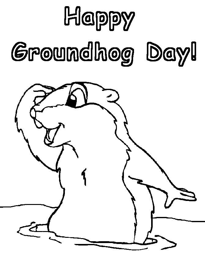 A zany school groundhog 39 s day printables for Groundhog coloring page