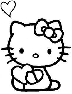 Disegni da colorare di Hello Kitty innamorata