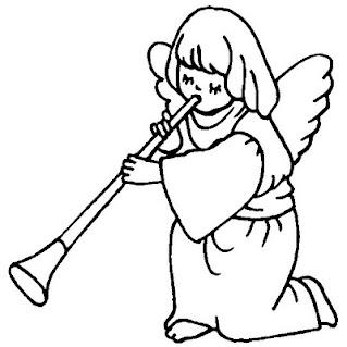 disegni da colorare di angioletti che suonano