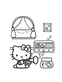 disegni da colorare di hello kitty musicista
