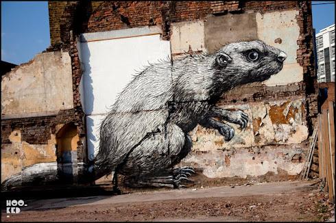 ROA's Beaver Mural on Hackney Road, London.