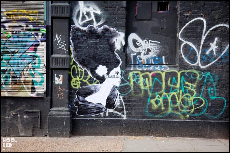 Monsieur Qui, London Street Art Paste-ups, Sclater Street, London. Photo ©Hookedblog