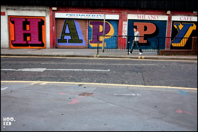 Ben Eine Happy Shutters in East London