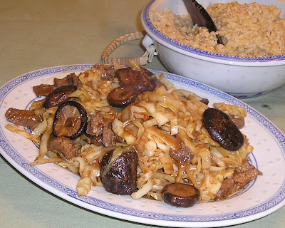 Stir Fried Beef and Cabbage with Shiitakes