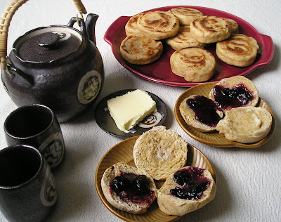 English Muffins with Blueberry Jam