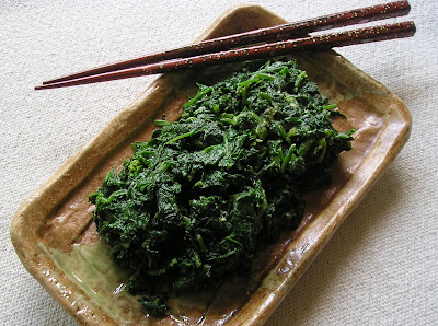 Cold Spinach with Miso and Tahini Dressing