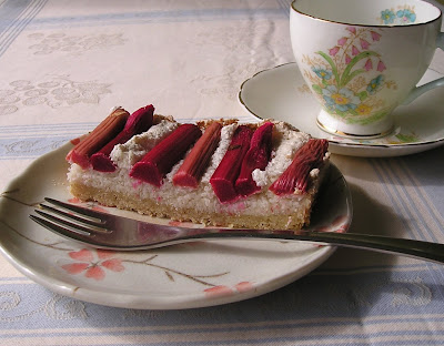 Coconut Macaroon Tart with Rhubarb