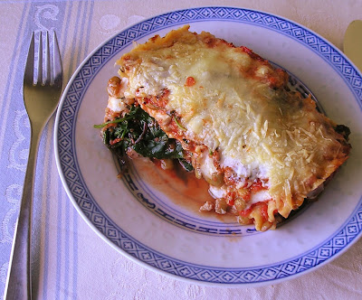 Goat Cheese, Spinach and Lentil Lasagne