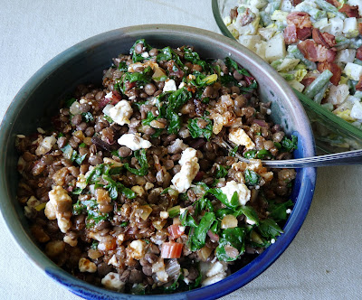 Lentil Onion and Spinach Salad